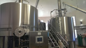 The brewhouse, if you can picture it, is a the far end of one of the wings of the brewery in a large, circular room.
