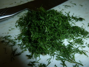 You want to roughly chop the aromatic dill just before you add it to the pot.