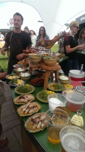 Pilsner Urquell in the foreground, and a cornucopia of Basque fair. Heavily tattooed cook in the offing.