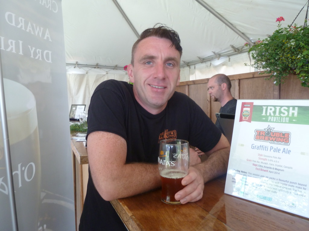 Stephen Clinch from Trouble Brewing, enjoying a leisurely pint before the hordes bear down